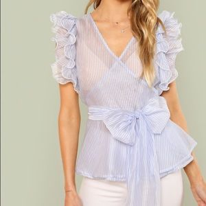 Tops - Layered Ruffle Bow-Tied Waist Striped Top